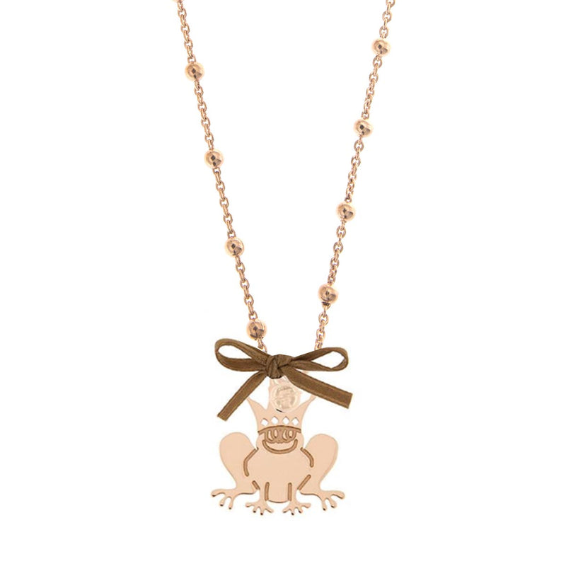 Beaded Necklace Frog Pendant