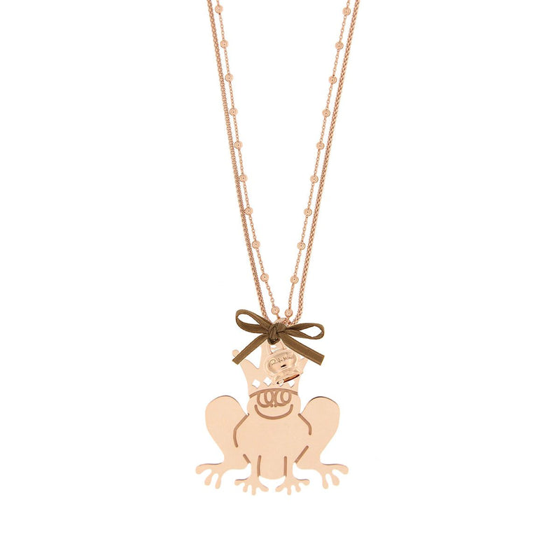 Double Chain Necklace with Frog and Little Bell
