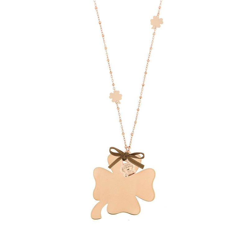 Four-leaf Clover Inserts Necklace with Pendant and Little Bell