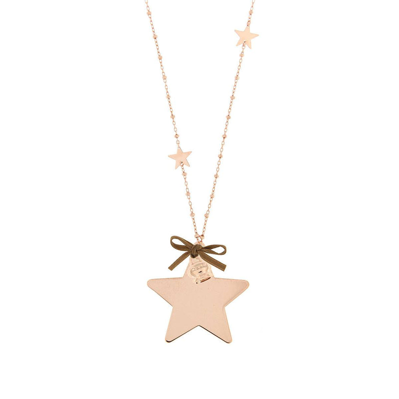 Star Inserts Necklace with Pendant and Little Bell