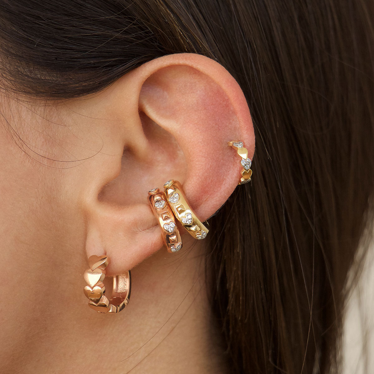 Earrings - Earcuff White Zircons Hearts and Studs - 3 | Rue des Mille