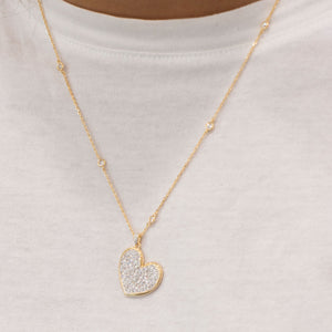 Chokers - Chain Choker 50 cm With Zircons and Heart Subject - thumbnail - 3 | Rue des Mille