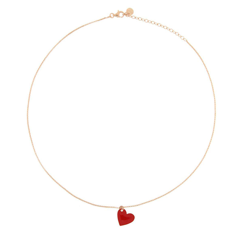 Choker with Enamelled Heart Pendant