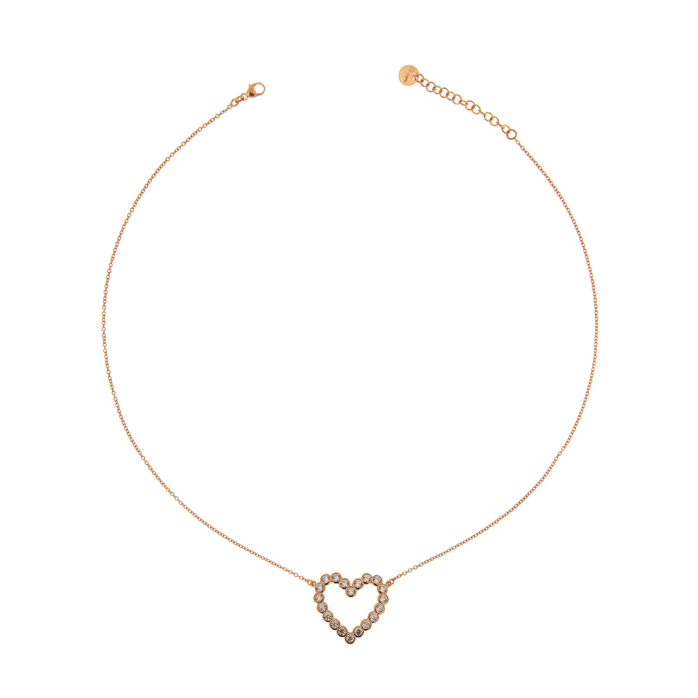 Chokers - Chain Choker with Zircons - Heart - 1 | Rue des Mille