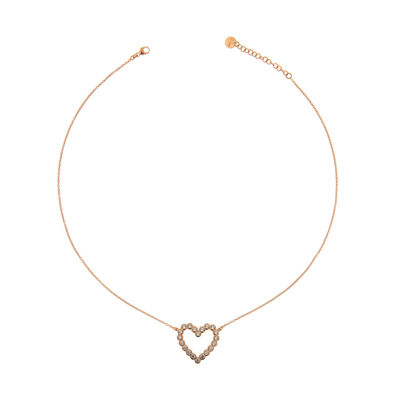 Chain Choker with Zircons - Heart