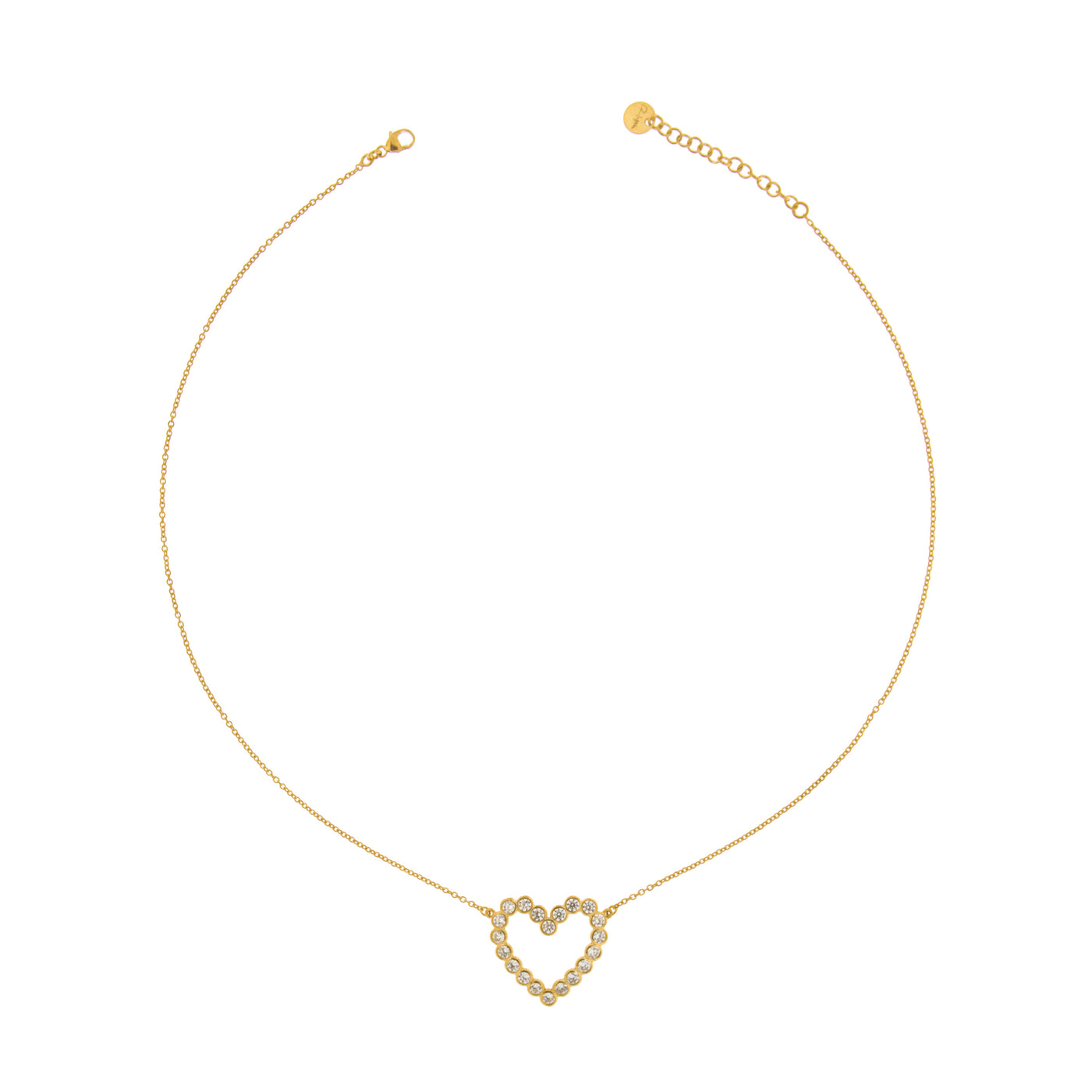 Chokers - Chain Choker with Zircons - Heart - 2 | Rue des Mille