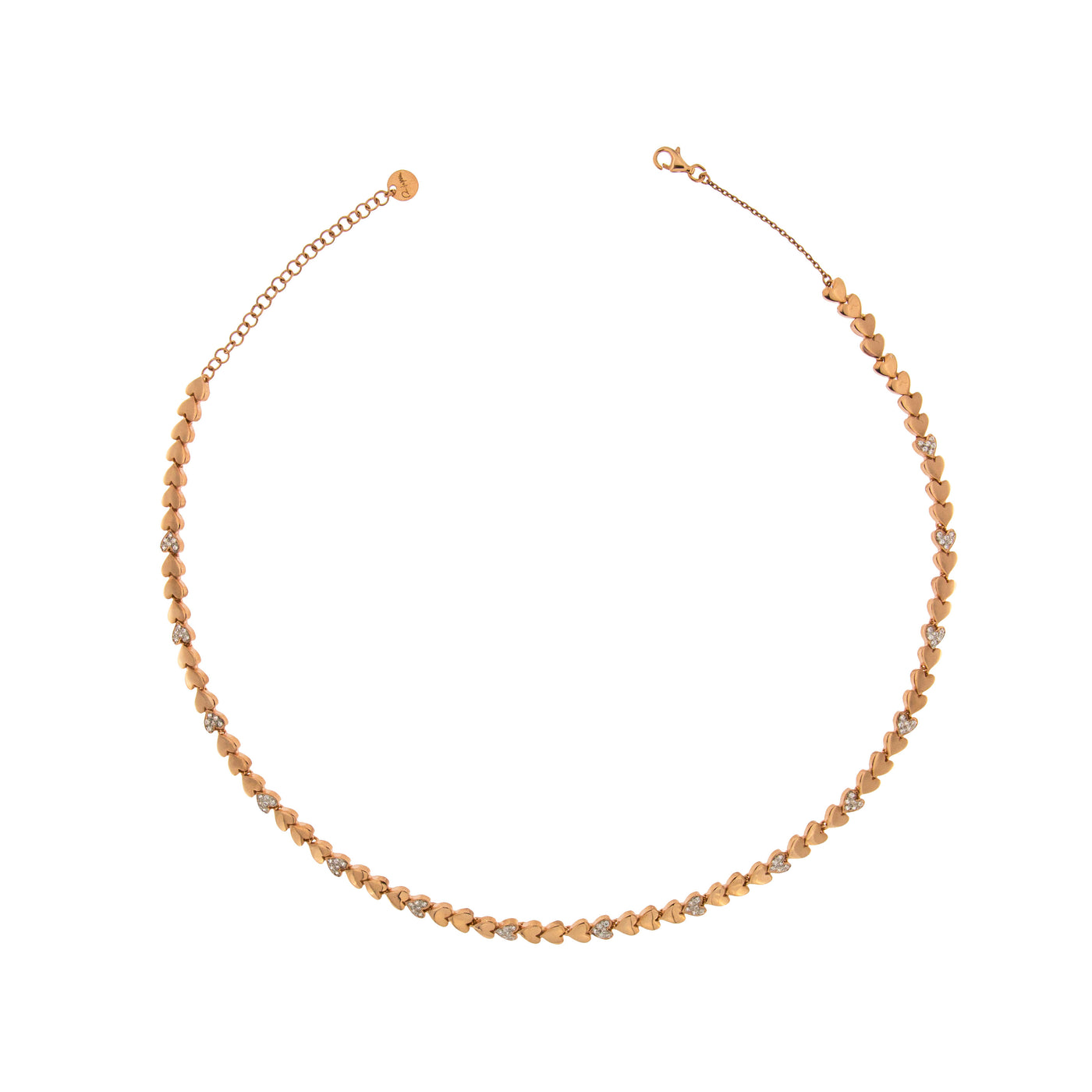 Chokers - Tennis Choker with Zircons - Hearts - 1   Rue des Mille
