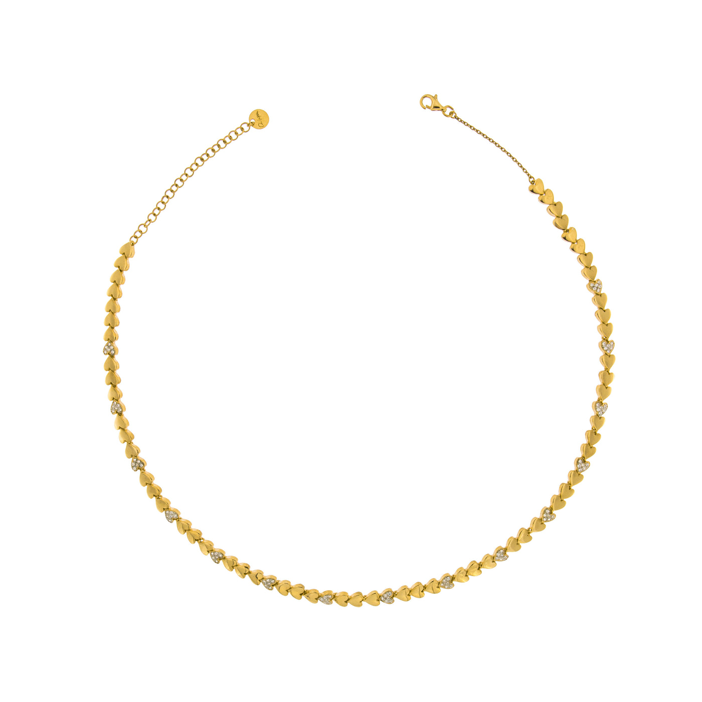 Chokers - Tennis Choker with Zircons - Hearts - 2   Rue des Mille
