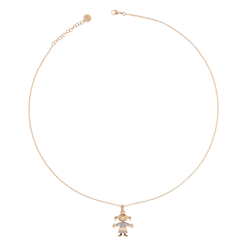 Necklace Little Girl Subject With Zirconia