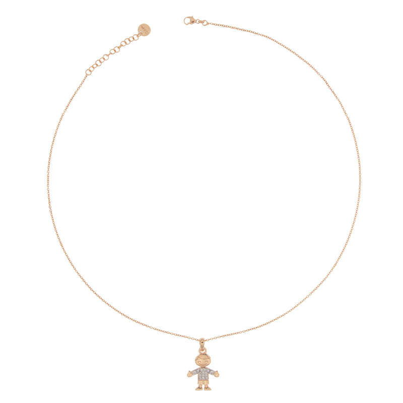 Necklace Little Boy Subject With Zirconia