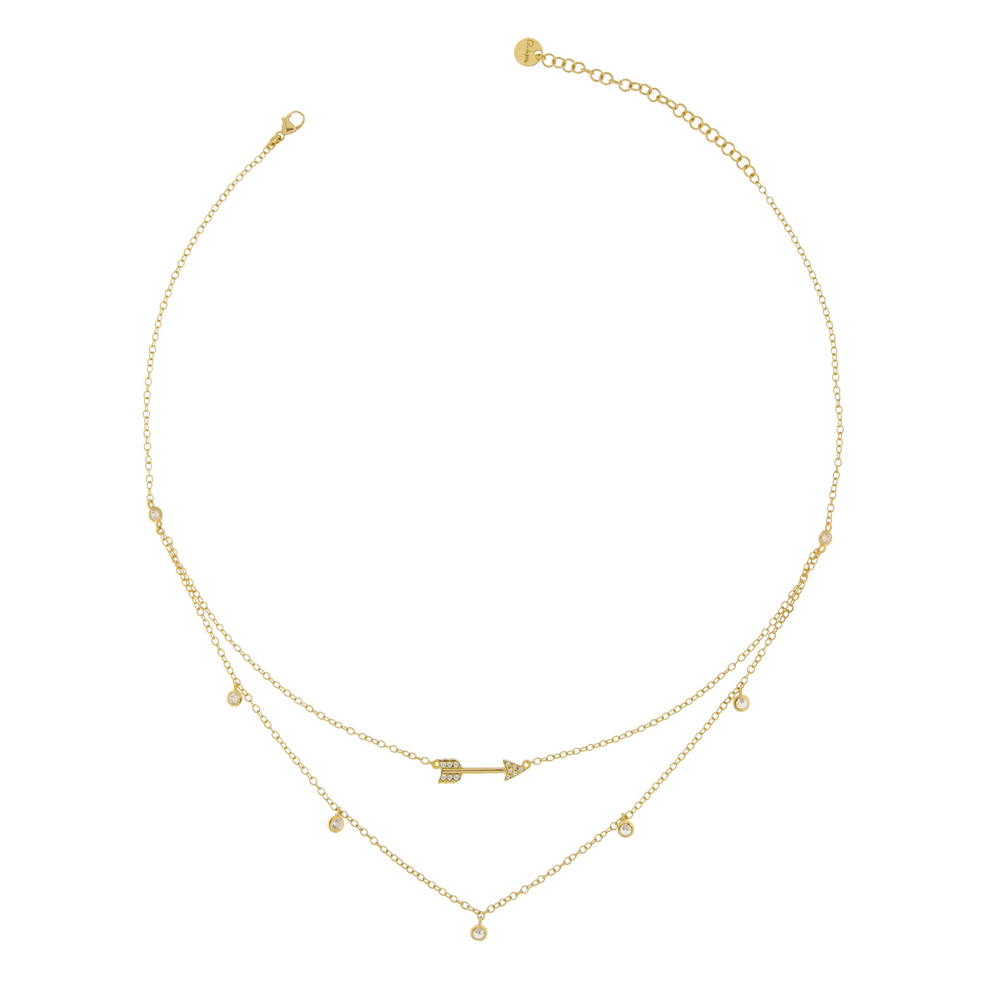 Chokers - Necklace Double Chain Arrow With Zirconia - 2 | Rue des Mille