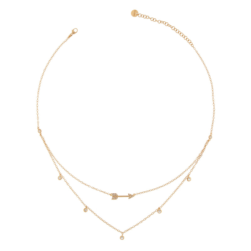 Necklace Double Chain Arrow With Zirconia