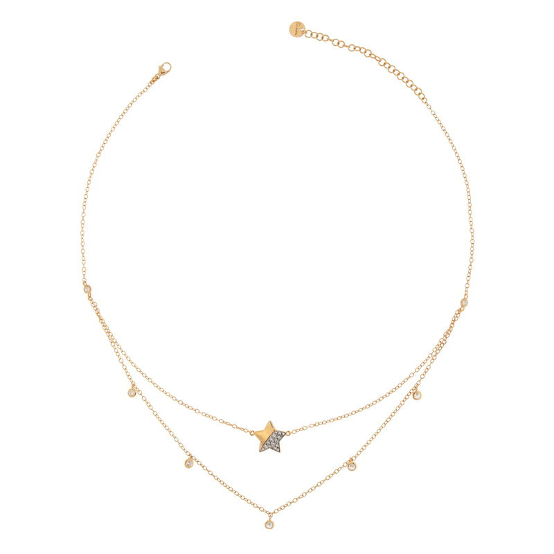 Necklace Double Chain Star With Zirconia