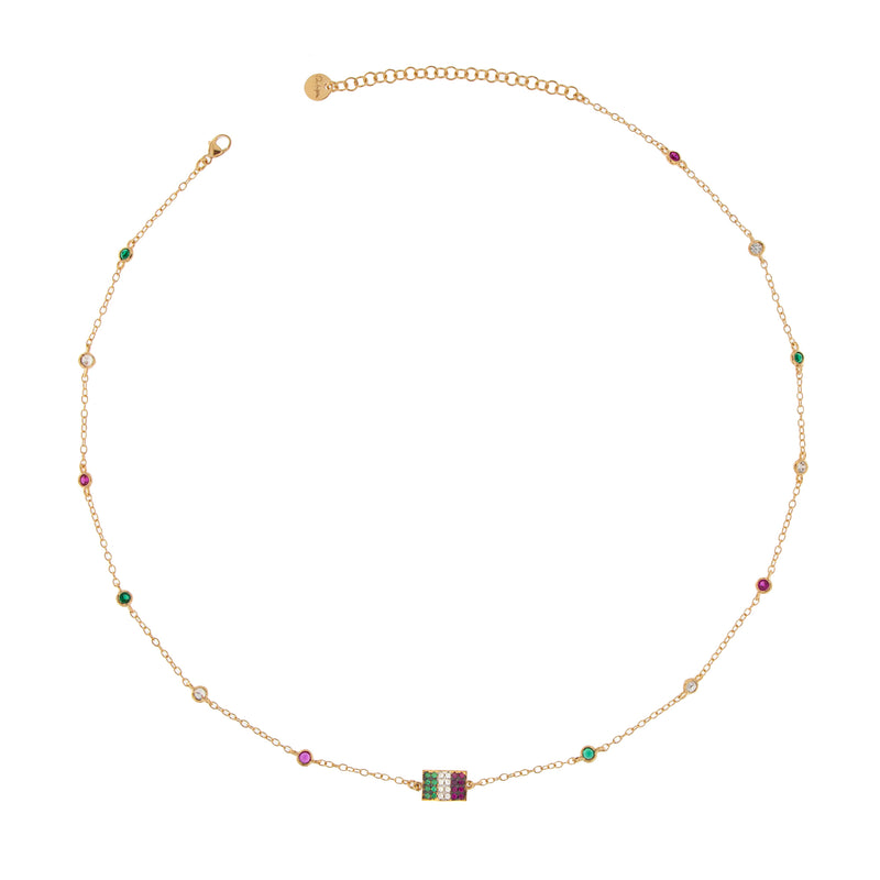 Necklace #Italiaseibella With Colored Zirconia