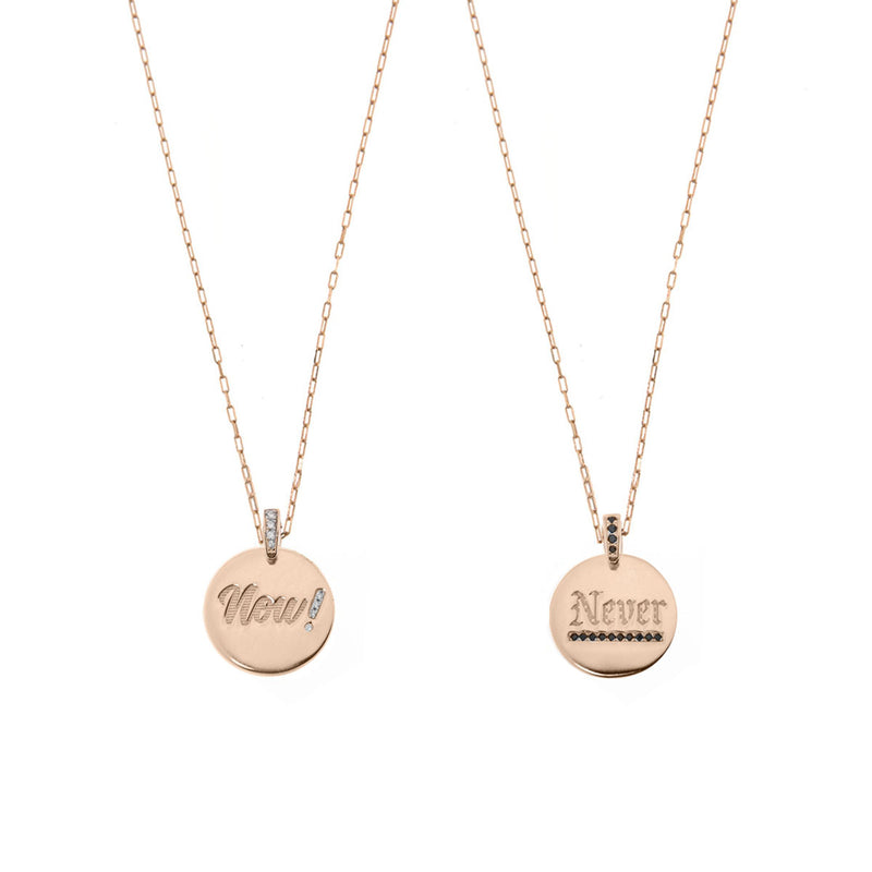 Choker NOW or NEVER medal -  thin elongated chain
