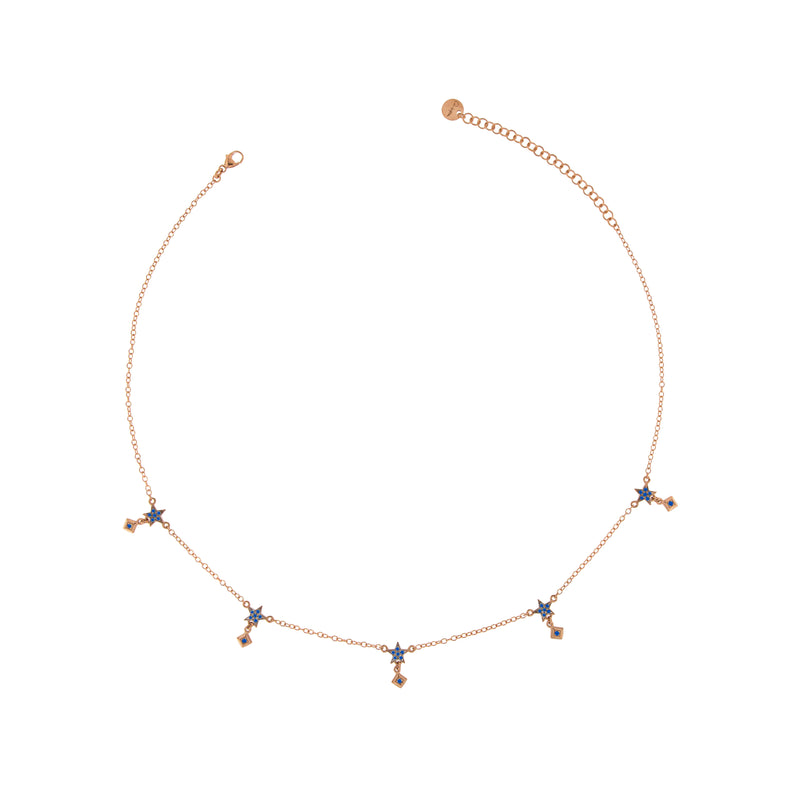 Choker with 5 Stars and Studs Blue Zircons