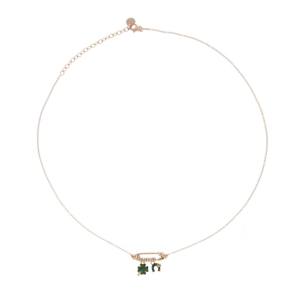 Chokers - Double Pendant and Brooch Choker - Four-leaf Clover/Horseshoe - 1 | Rue des Mille