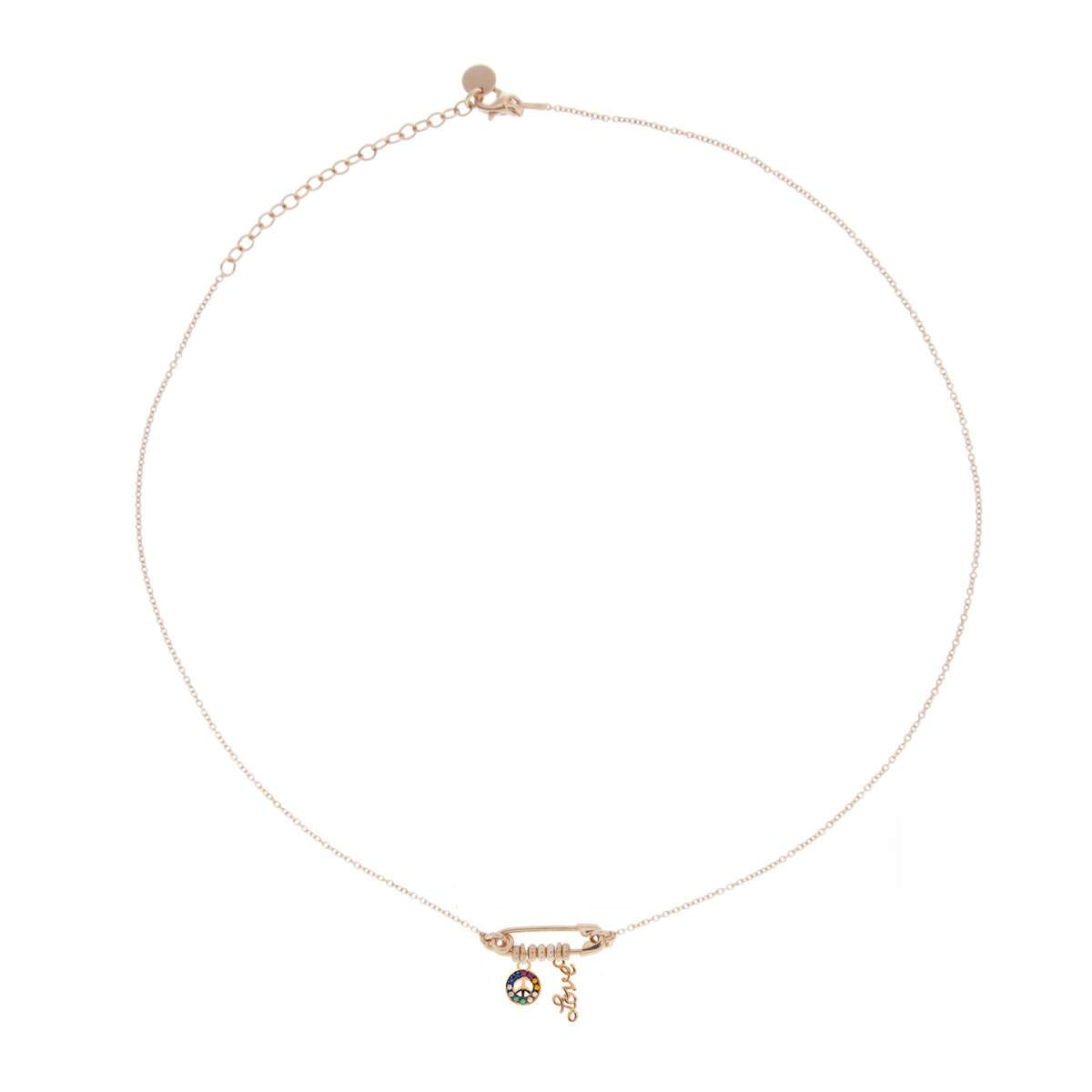 Chokers - Double Pendant and Brooch Choker - Peace/Love - 1 | Rue des Mille