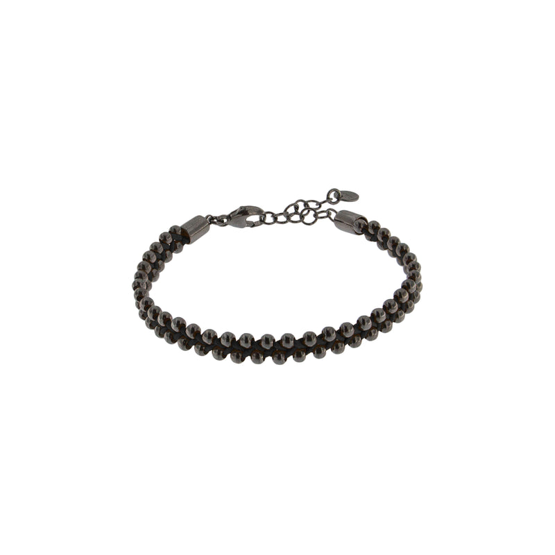 Burnished Curb Chain Bracelet With Colored Cotton