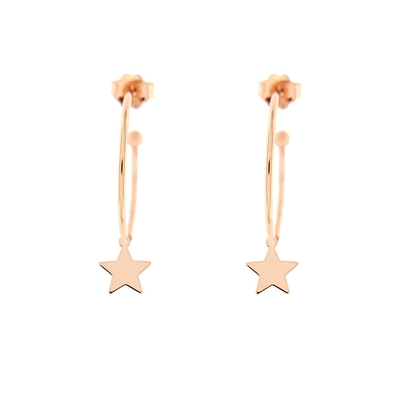 Hoop Earrings Micro Pendant - Star