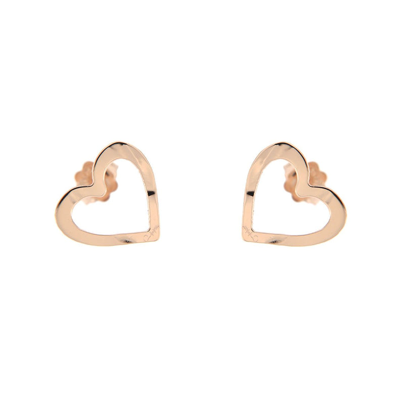 Stud Earrings with Mini Openwork Heart