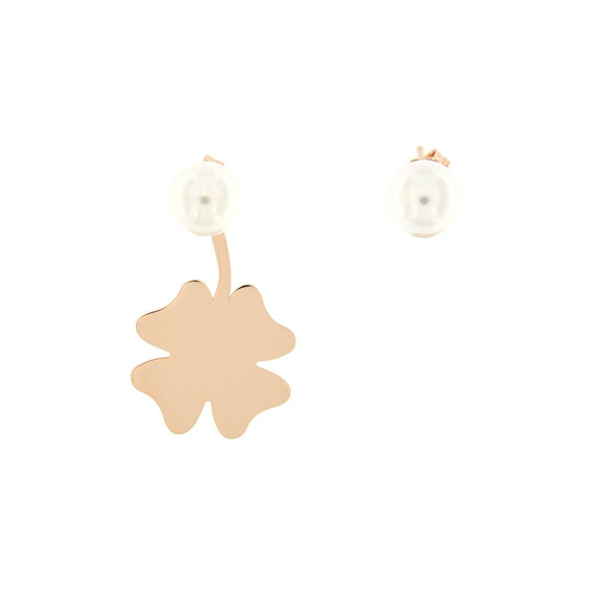 Earrings - Pearl Earrings and Four-leaf Clover Pendant - 1   Rue des Mille