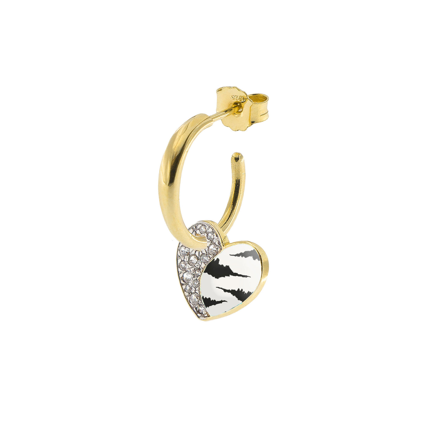 Earrings - Single Earring With Small Hoop and Heart - Zebra Print - 1 | Rue des Mille
