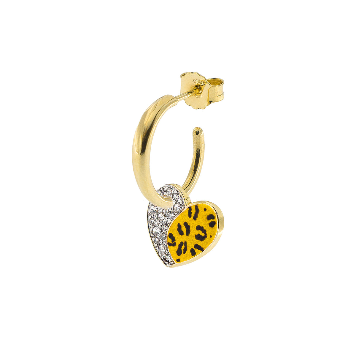 Earrings - Single Earring With Small Hoop and Heart - Leopard Print - 3 | Rue des Mille