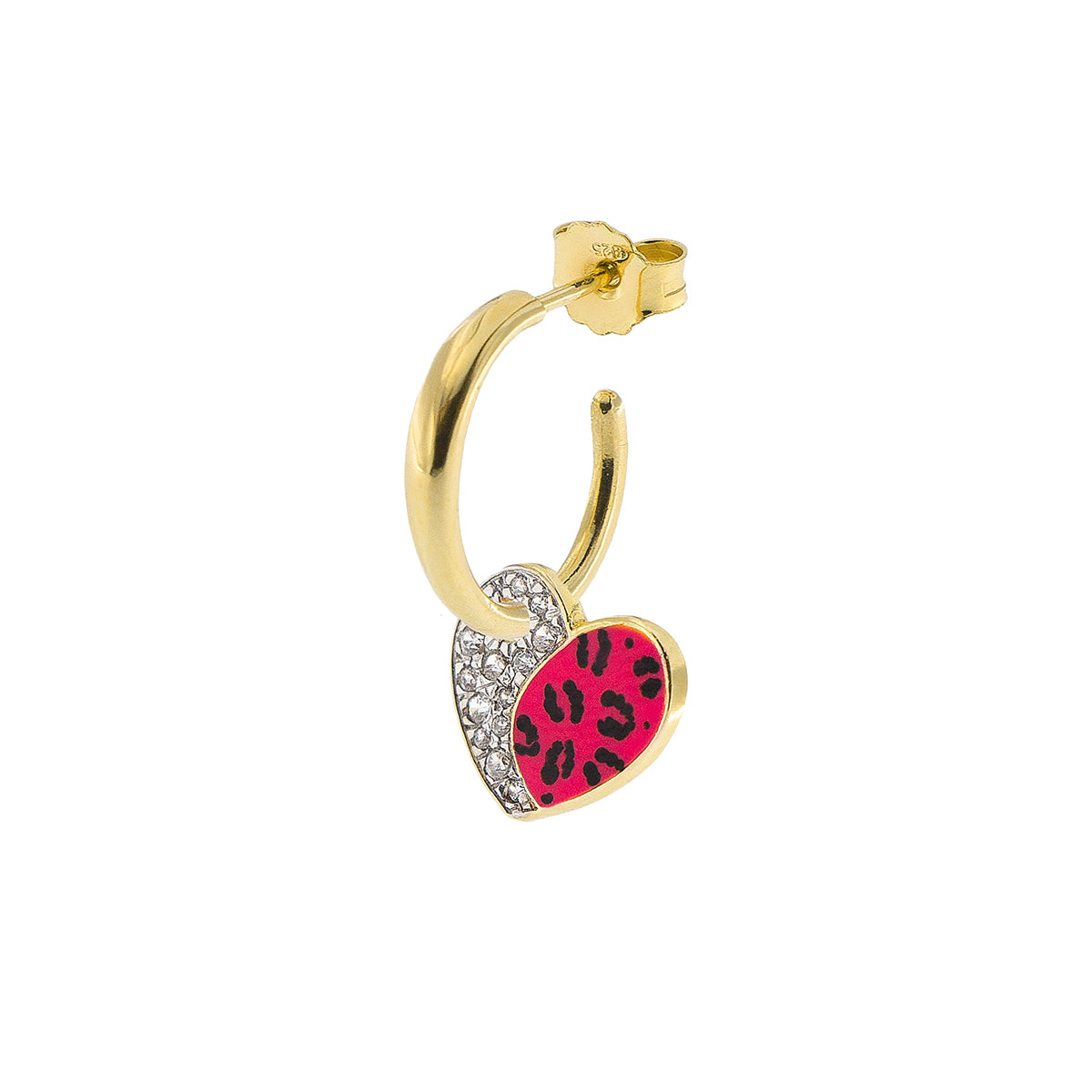 Earrings - Single Earring With Small Hoop and Heart - Leopard Print - 2 | Rue des Mille
