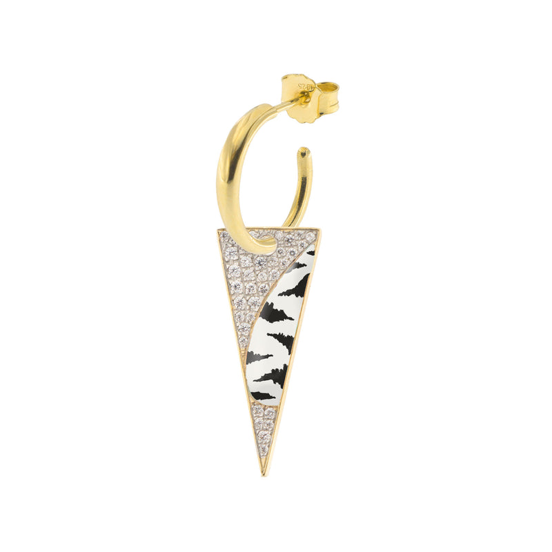 Single Earring with Small Hoop and Spike - Zebra Print