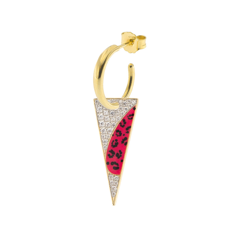 Single Earring with Small Hoop and Spike - Leopard Print