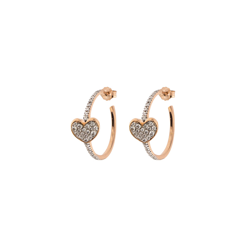 Zircon Circle Earrings - Heart