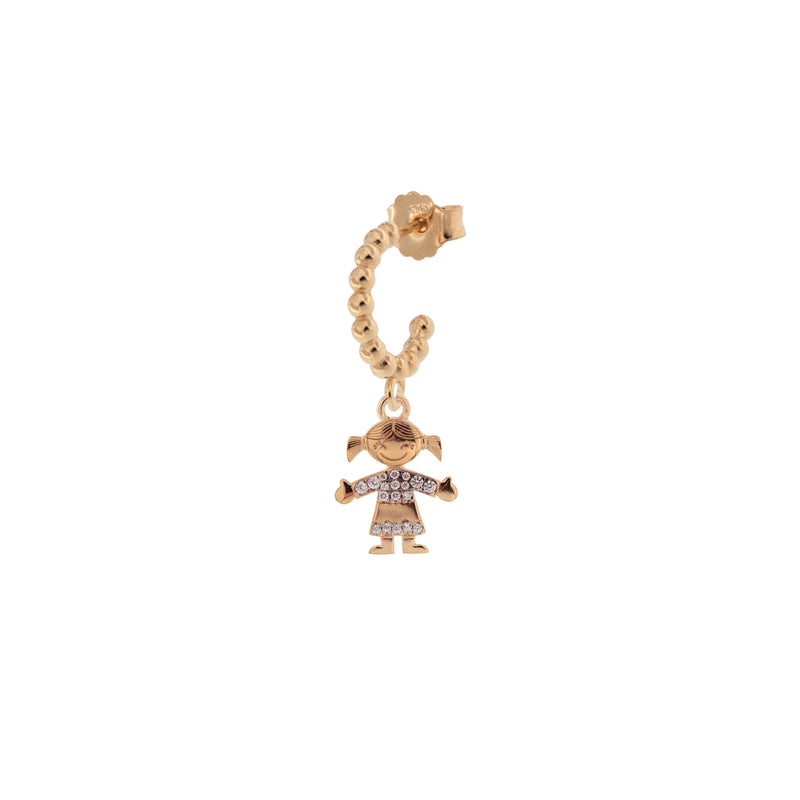 Single Earring Hoop With Zircons - Little Girl