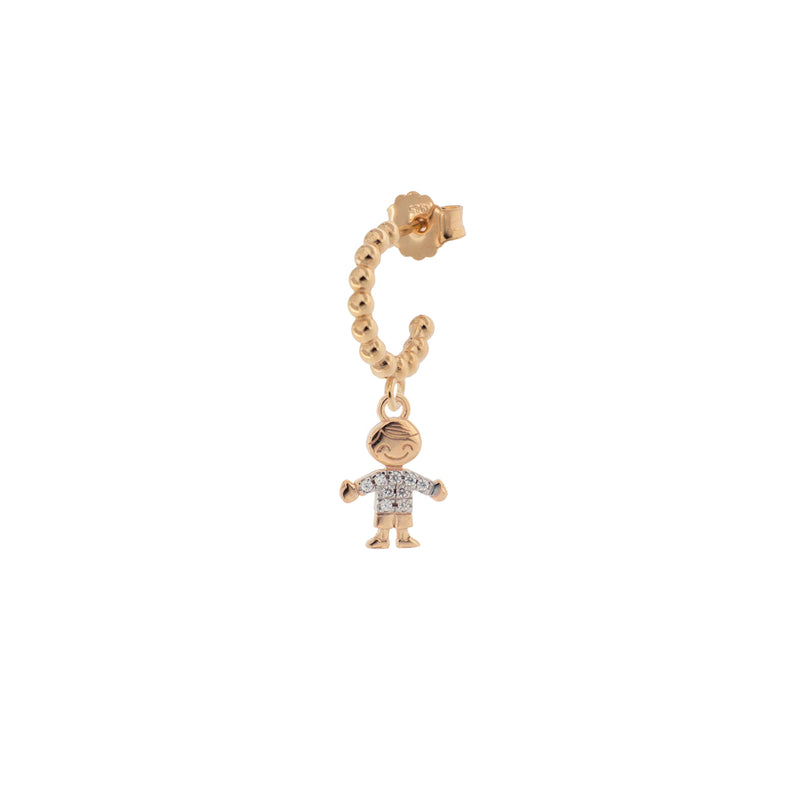 Single Earring Hoop With Zircons - Little Boy