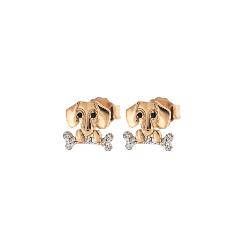 Zirconia Earrings With Dachshund