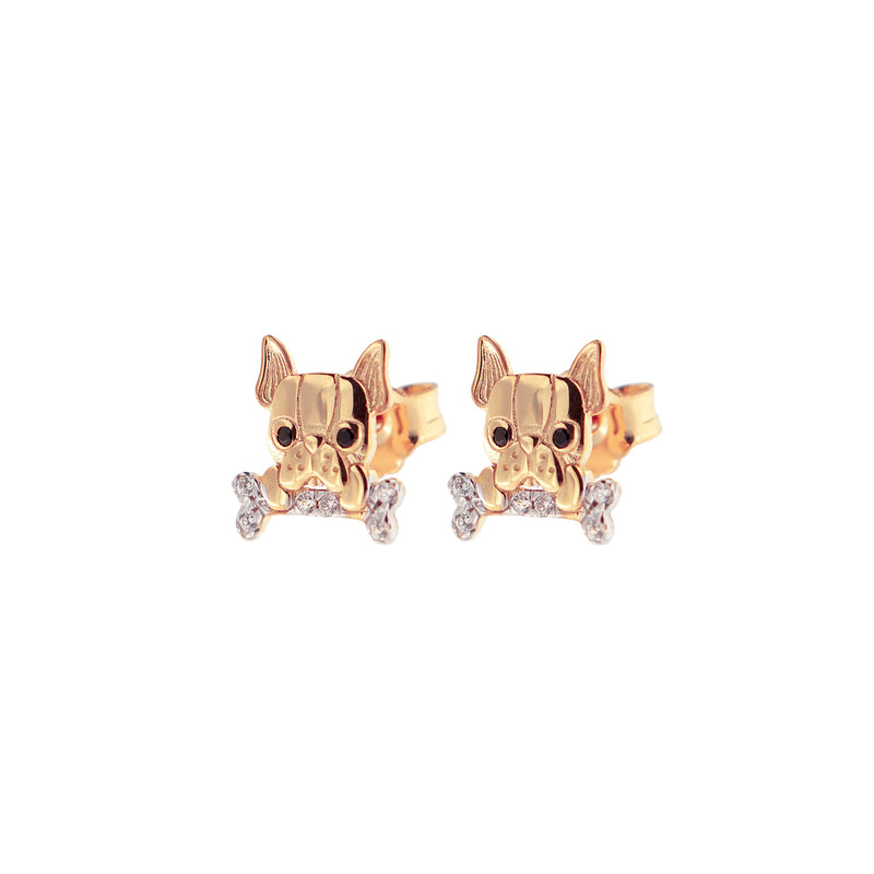 Zirconia Earrings With Bulldog