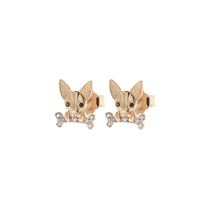 Zirconia Earrings With Chihuahua
