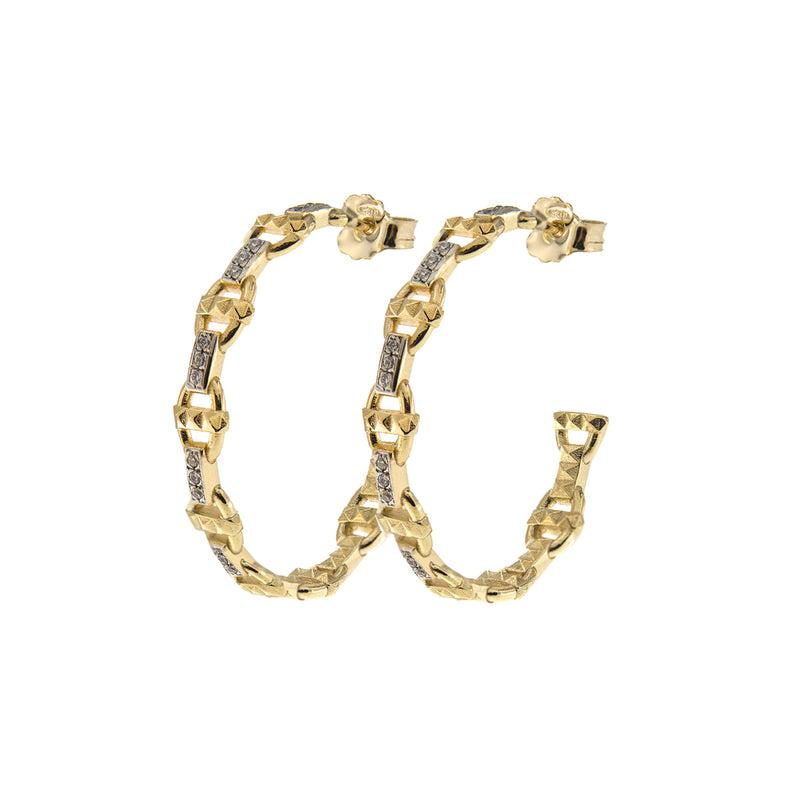 Pair of hoops - marine link and studs