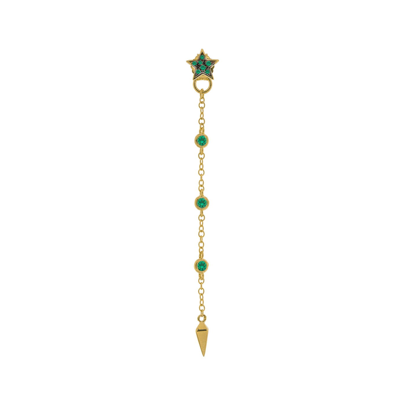 Earrings - Mono Earring with Chain and Lance Green Zircons - 2 | Rue des Mille