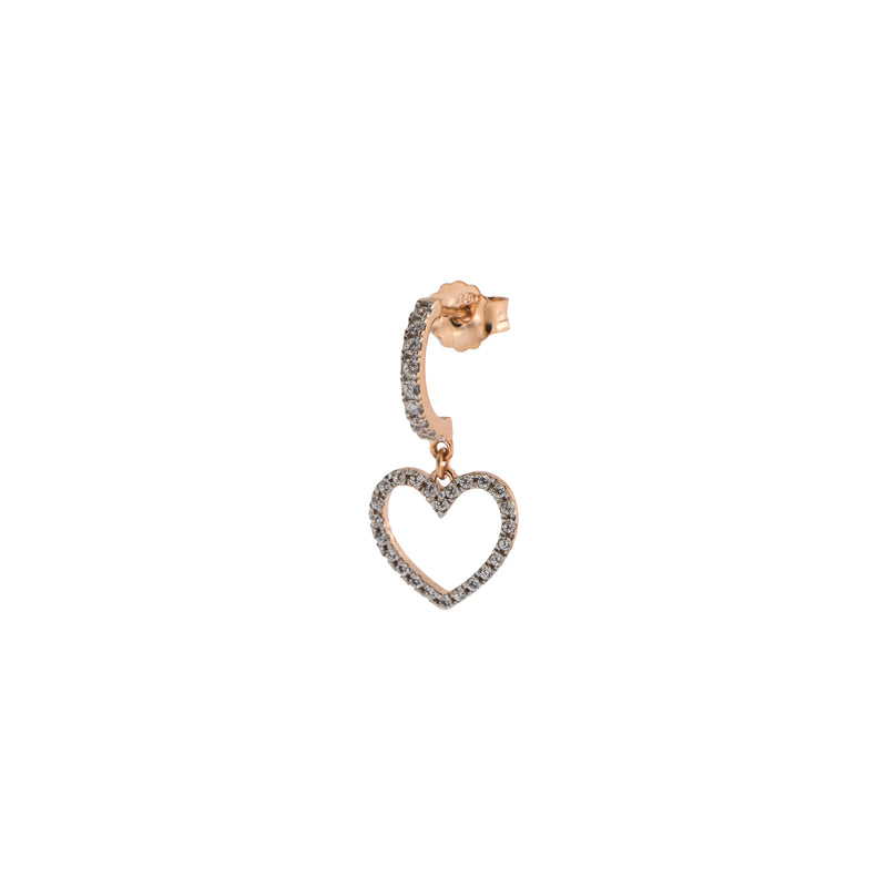 Mono Earring with Subject and White Zircon - Heart