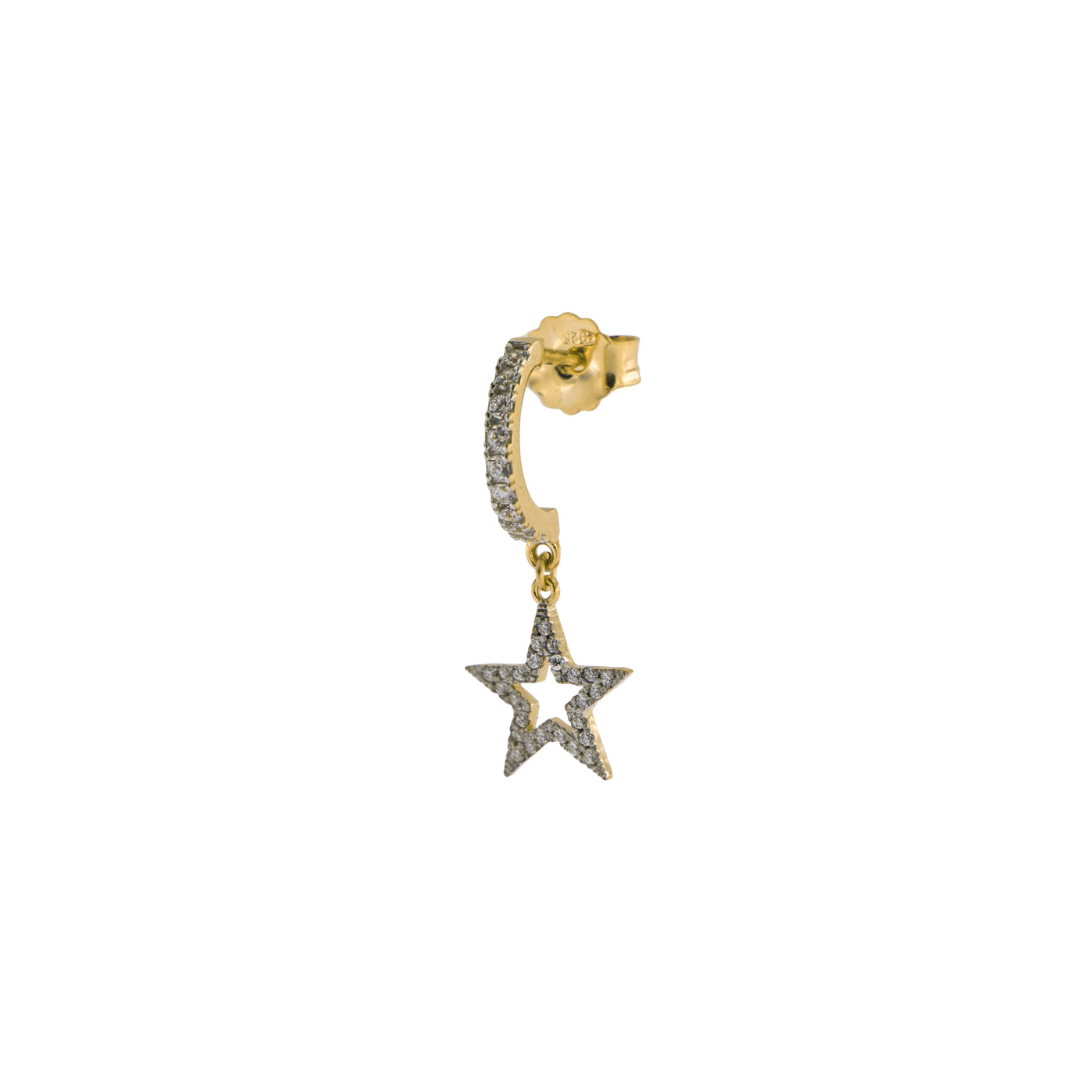 Earrings - Mono Earring with Subject and White Zircon - Star - 2 | Rue des Mille