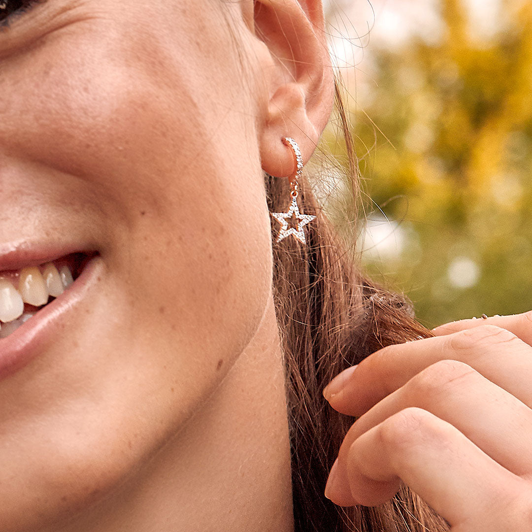 Earrings - Mono Earring with Subject and White Zircon - Star - 3 | Rue des Mille