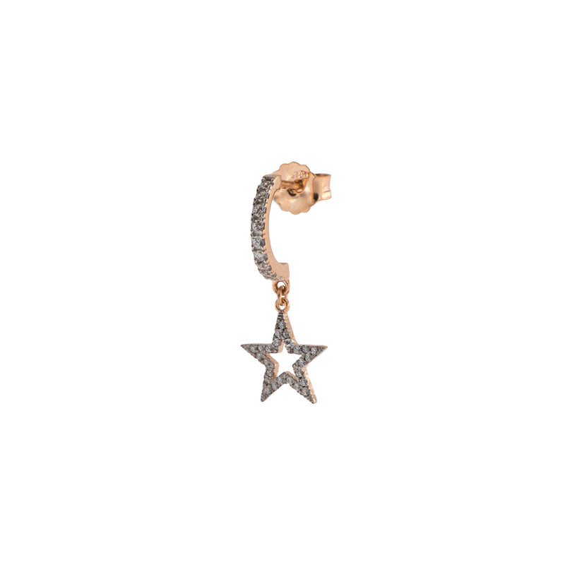Mono Earring with Subject and White Zircon - Star