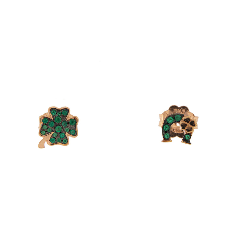 Stud Earrings with Zirconia Four-leaf Clover/Horseshoe