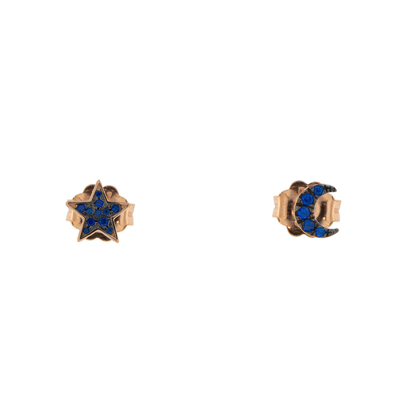 Stud Earrings with Zirconia Star/Moon