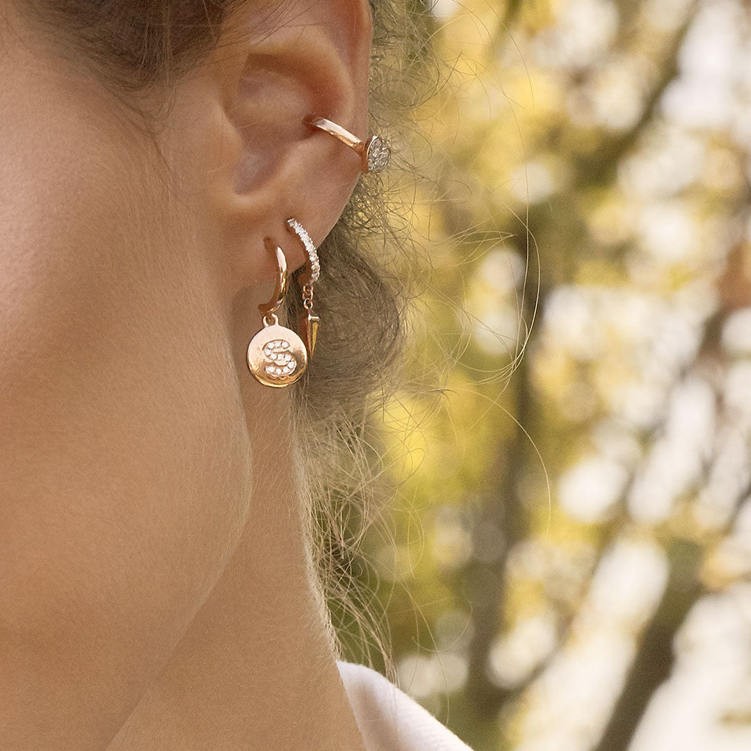 Earrings - Mono Earring with Letter and White Zircons - 2 | Rue des Mille