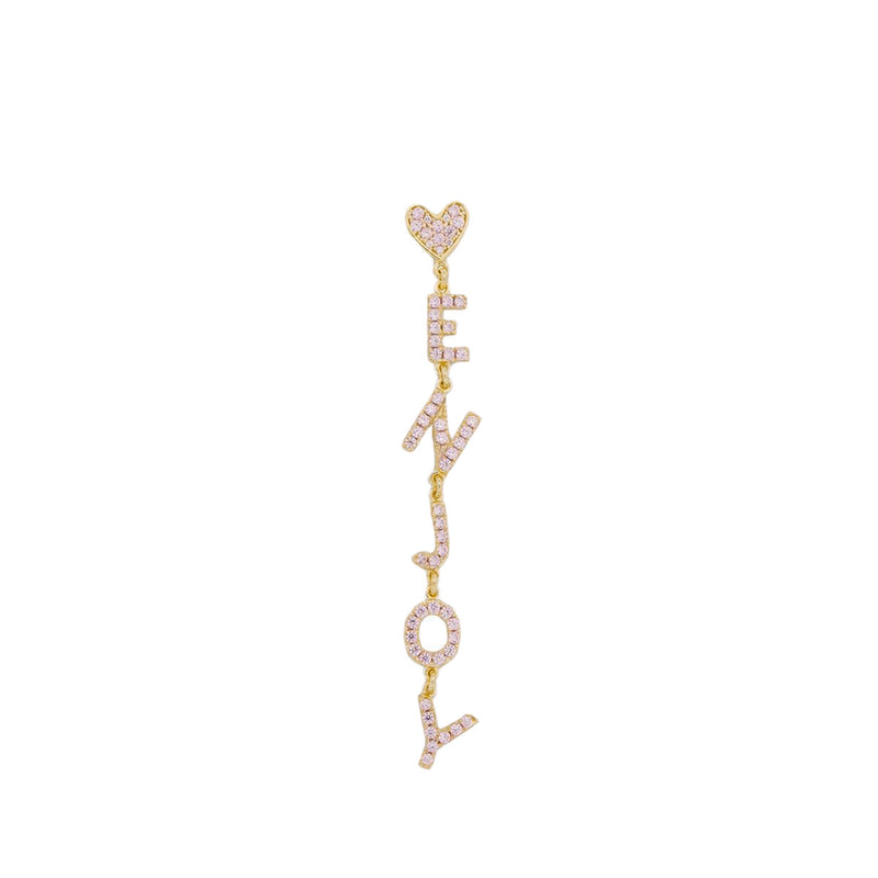 Customizable mono earring with zirconia - 18kt yellow gold plating