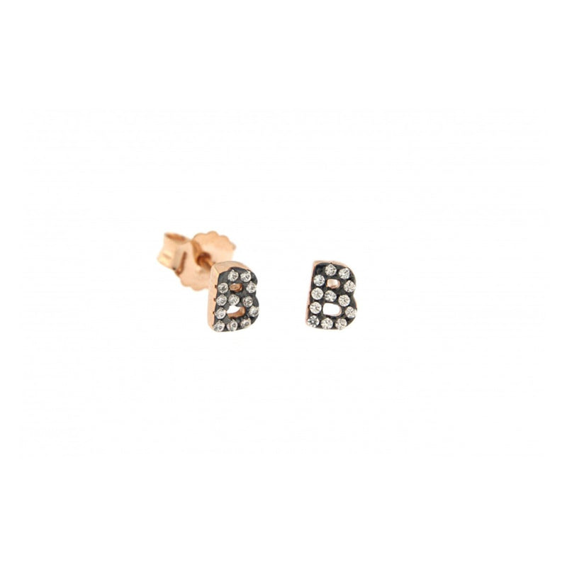 Stud Earrings with Micro Letterand zircons