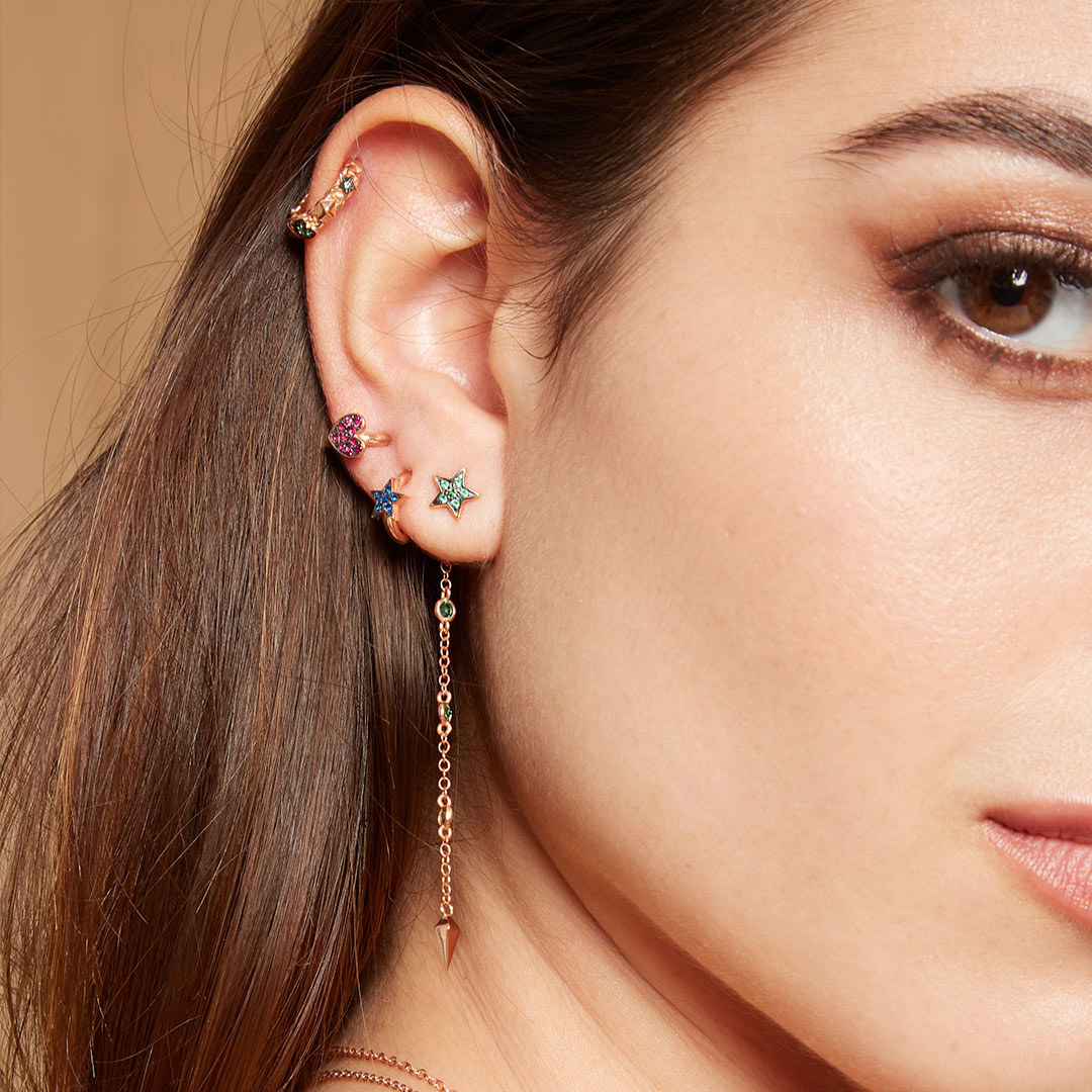 Earrings - Mono Earring with Chain and Lance Green Zircons - 3 | Rue des Mille