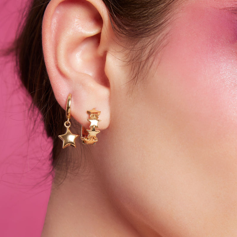 Hoop Earrings with Stars